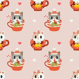 Modello senza giunture di simpatico gatto seduto in tazza.