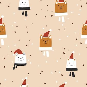 Modello senza cuciture. simpatici gatti in illustrazione vettoriale di cappelli di natale