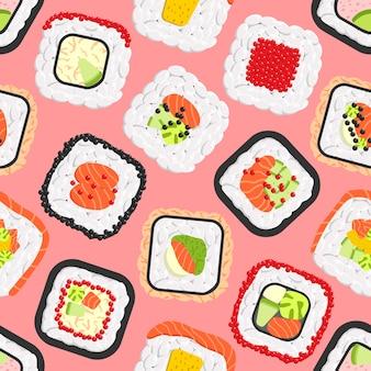 Modello senza cuciture dei rotoli di sushi colorati svegli