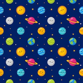 Spazio kawaii divertente carino modello senza soluzione di continuità. stile cartoon pianeti isolato