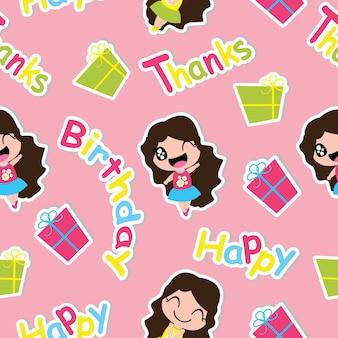 Seamless pattern di ragazza carina e regali casella su sfondo rosa vettoriale cartone animato