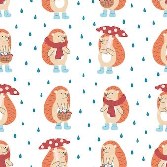 Modello senza cuciture di simpatici ricci con funghi, sciarpa e cesto su sfondo piovoso. ideale per design per bambini, tessuti, confezioni, carta da parati, tessuti, decorazioni per la casa.