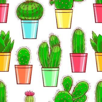 Modello senza giunture di graziosi piccoli cactus in vaso di fiori