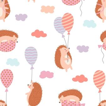Modello senza cuciture di simpatico riccio con palloncini e nuvole. ideale per panno per bambini, decorazioni per la casa.