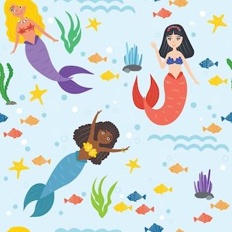 Modello senza soluzione di continuità. simpatiche sirene sott'acqua. sirena afroamericana. capelli lunghi. stelle marine, pesci, alghe. illustrazione vettoriale.