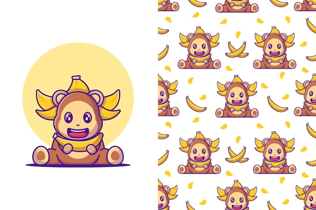 Scimmia carina senza cuciture con illustrazioni di cartoni animati di banana