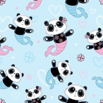 Modello senza soluzione di continuità sirena di panda carina sul blu.