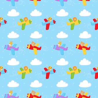 Seamless pattern simpatici animali pilota in aria isolato su sfondo blu.