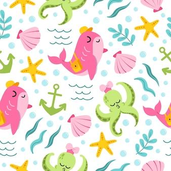 Modello senza cuciture di balena rosa carina e simpatico cartone animato polpo verde nell'oceano