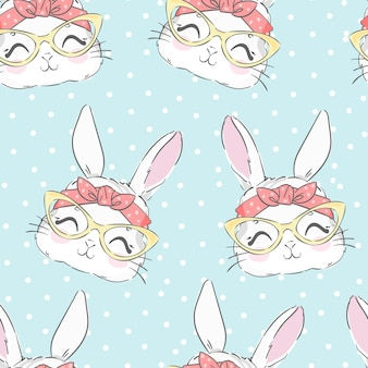 Modello senza cuciture coniglio carino e fiocco rosa. coniglietto disegnato a mano