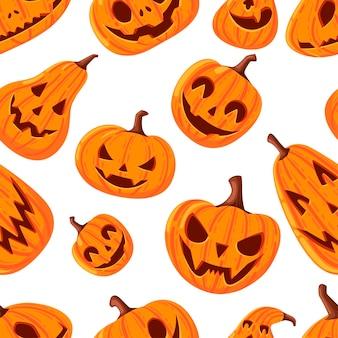 Modello senza cuciture di zucche di halloween carine e spaventose con facce fumetto verdure piatto illustrazione vettoriale su sfondo bianco.