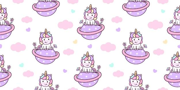 L'unicorno sveglio del modello senza cuciture si siede sulla stella di saturno con gli animali kawaii del fiore