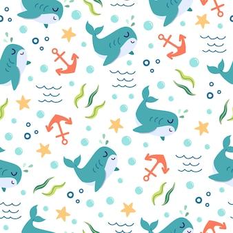 Modello senza giunture di simpatici cartoni animati di balene nell'oceano