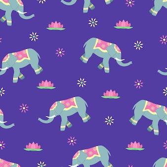 Modello senza giunture di elefanti decorati, loto e motivi floreali.