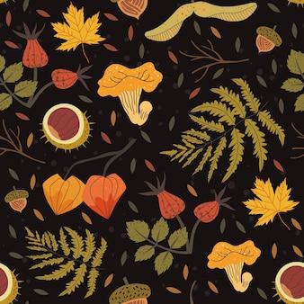 Modello senza cuciture decorato con elementi floreali come castagno, ghianda, foglie di acero, radica, felce. illustrazione del raccolto autunnale che può essere utilizzata come sfondo per la stampa di tessuti, tessuti, carta da imballaggio.
