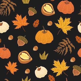 Modello senza cuciture decorato con elementi floreali come noce, ghianda, foglie d'acero, zucca, funghi e felce. illustrazioni del raccolto autunnale che possono essere utilizzate come stampa su tessuto, tessuto, carta da imballaggio.