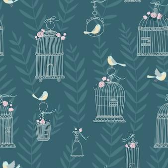 Modello senza cuciture per gabbie per uccelli decorative, decorato con fiori. gli uccelli sono seduti e volano. stile disegnato a mano