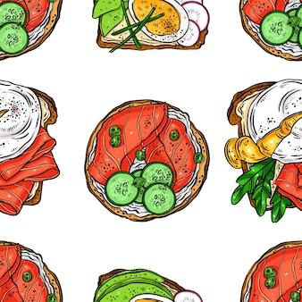 Modello senza giunture di deliziosa colazione tosta uova, pesce e altri ingredienti. illustrazione disegnata a mano