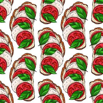 Modello senza cuciture di deliziosi toast per la colazione con pomodori, foglie di basilico e mozzarella.