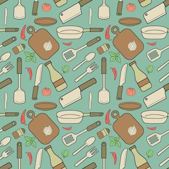 Modello senza cuciture di oggetti pastello. sono strumenti da cucina.