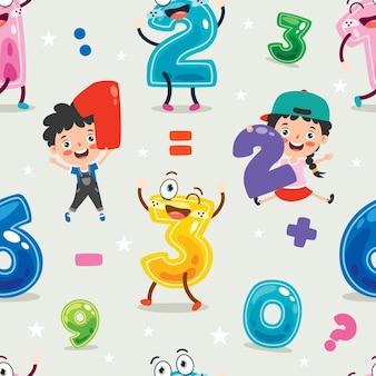 Seamless pattern design con personaggio dei cartoni animati