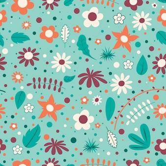 Seamless pattern design con fiori colorati