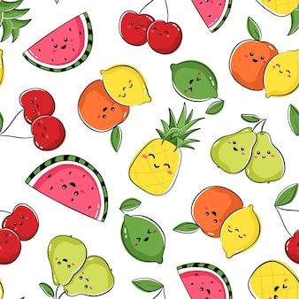 Design senza cuciture con simpatici personaggi di frutta. ripeti la piastrella con ananas kawaii, anguria, ciliegia, pera, arancia, limone e lime