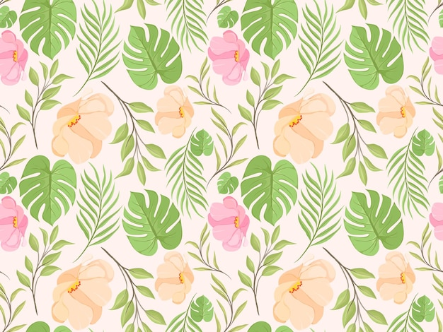 Design senza cuciture con fiori e foglie per tessuti e carta da parati