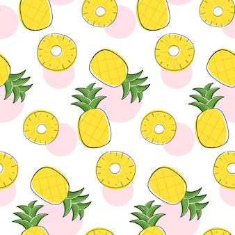 Design senza cuciture con frutta ananas e fette di ananas.