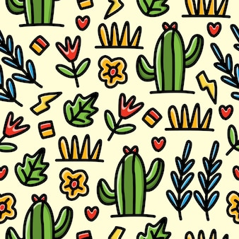 Seamless pattern di doodle cartoon pianta