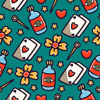 Seamless pattern di doodle cartoon tattoo