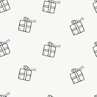 Icone di doodle del modello senza cuciture scatole regalo di natale decorazione del nuovo anno