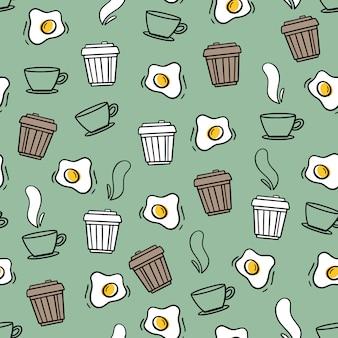 Modello senza soluzione di continuità in stile doodle. caffè e uova strapazzate.