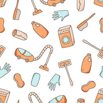 Modello senza cuciture elementi di pulizia di vettore di stile di doodle. una serie di disegni di prodotti e articoli per la pulizia. kit per il lavaggio della stanza.