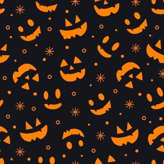 Modello senza cuciture delle emozioni delle zucche di halloween su uno sfondo nero