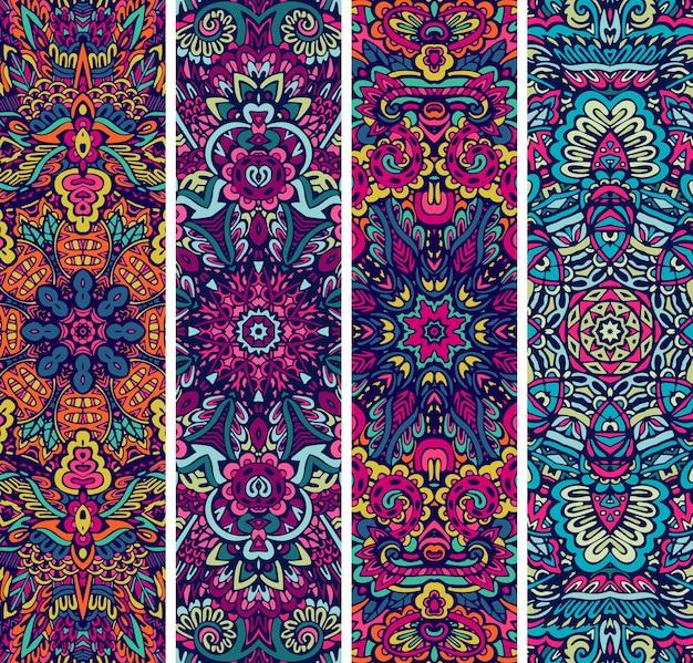 Set di banner colorato psichedelico etnico senza cuciture