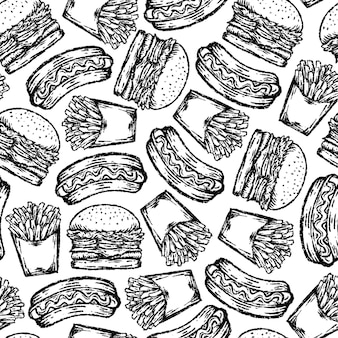 Seamless di fast food in stile di disegno.