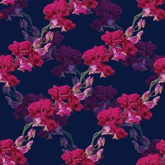 Fiori di orchidea floreali senza cuciture.