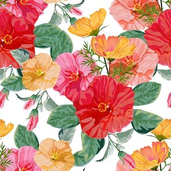Illustrazione floreale di vettore del reticolo senza giunte