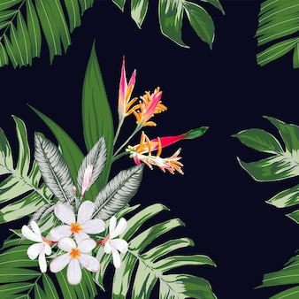 Modello senza cuciture floreale con sfondo di fiori di frangipani.