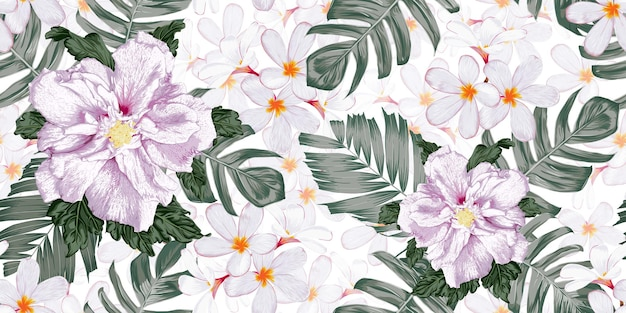 Motivo floreale senza cuciture con sfondo di fiori di ibisco e frangipani.