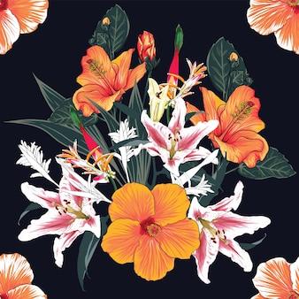 Modello senza cuciture floreale con sfondo di fiori di ibisco e lilly
