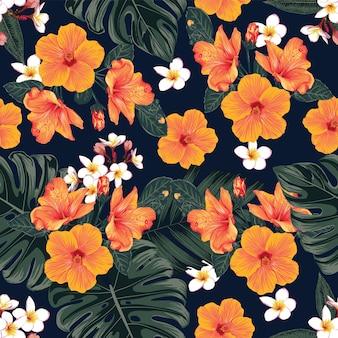 Modello senza cuciture floreale con foglie di monstera e ibisco, fondo astratto di fiori di frangipane. illustrazione disegnata a mano.