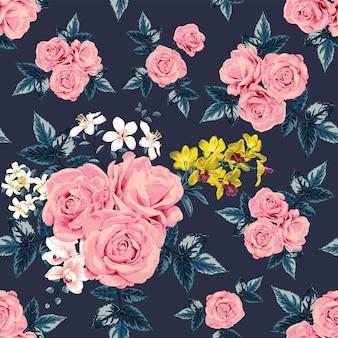 Modello senza cuciture floreale con rose rosa e fiori di orchidea.