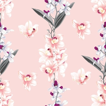 Modello senza cuciture floreale con sfondo astratto di fiori di orchidea rosa e bianchi.