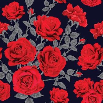 Modello senza cuciture floreale con fiori di rosa rossa vintage.