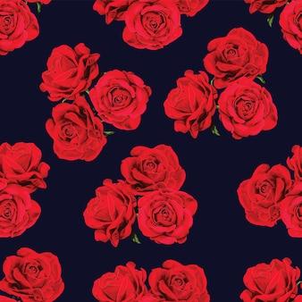 Modello senza cuciture floreale con fiori di rosa rossa.