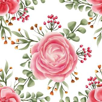 Acquerello rosa rosa del fiore senza cuciture del modello