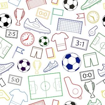 Modello senza cuciture dei simboli del calcio, colorato su bianco