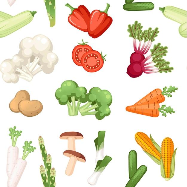 Modello senza giunture di verdure crude fresche piatto illustrazione vettoriale su sfondo bianco.